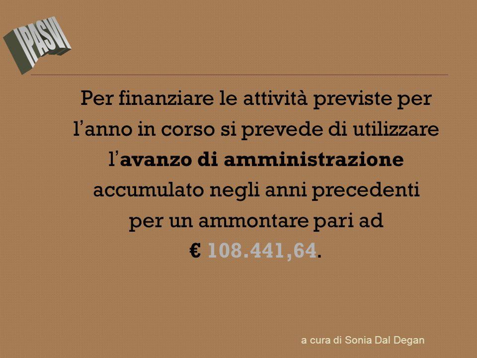 Per finanziare le attività previste per l anno in corso si prevede di utilizzare l avanzo di amministrazione accumulato negli anni precedenti per un a