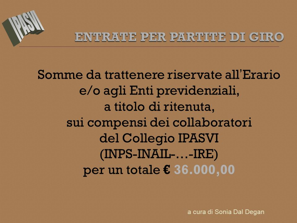 Somme da trattenere riservate all Erario e/o agli Enti previdenziali, a titolo di ritenuta, sui compensi dei collaboratori del Collegio IPASVI (INPS-INAIL-…-IRE) per un totale 36.000,00 a cura di Sonia Dal Degan
