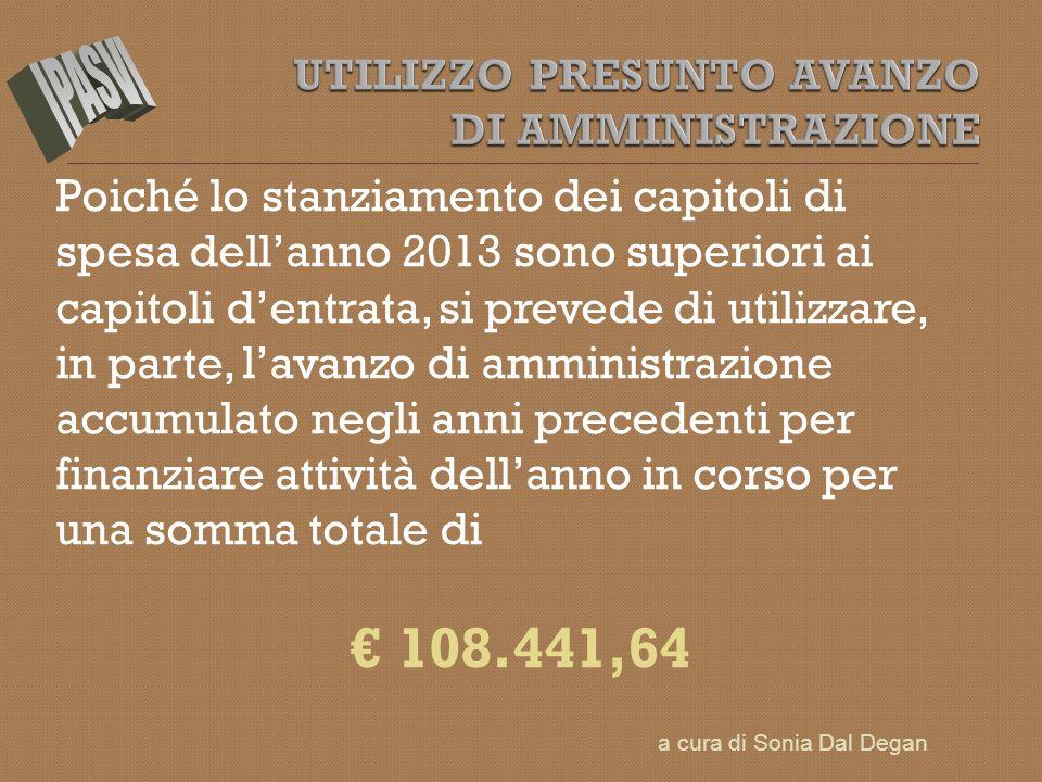 Poiché lo stanziamento dei capitoli di spesa dellanno 2013 sono superiori ai capitoli dentrata, si prevede di utilizzare, in parte, lavanzo di amminis