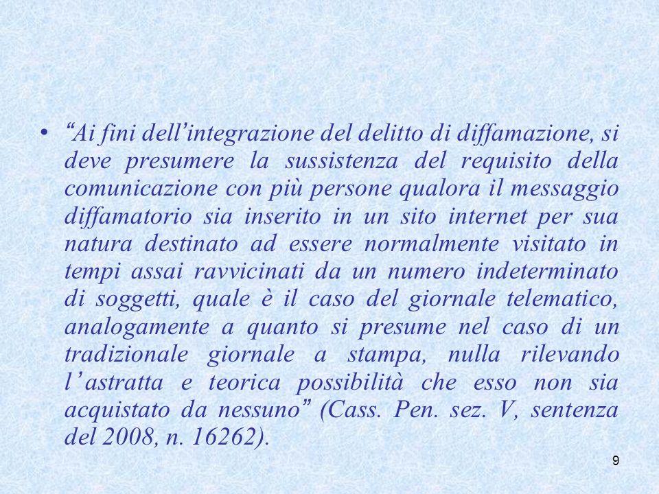 Ai fini dell integrazione del delitto di diffamazione, si deve presumere la sussistenza del requisito della comunicazione con più persone qualora il m