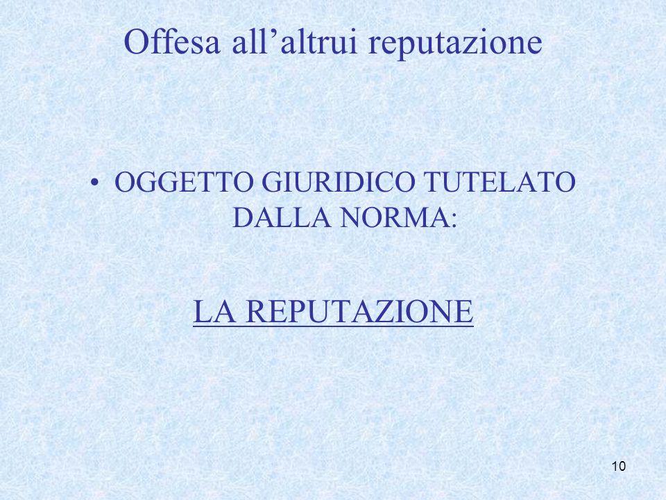 Offesa allaltrui reputazione OGGETTO GIURIDICO TUTELATO DALLA NORMA: LA REPUTAZIONE 10