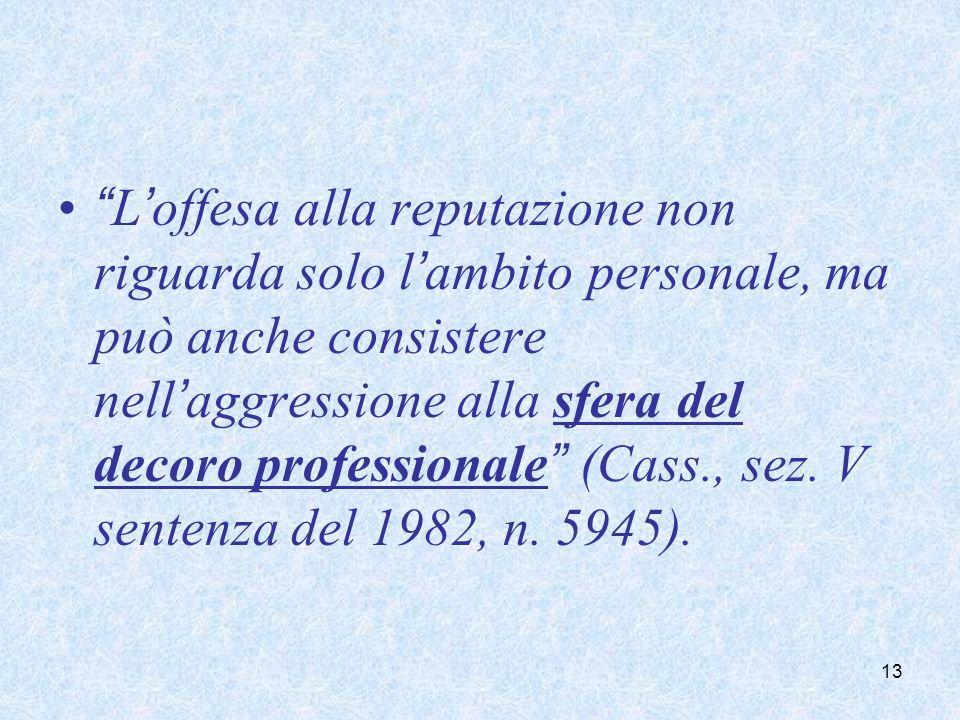 Loffesa alla reputazione non riguarda solo lambito personale, ma può anche consistere nellaggressione alla sfera del decoro professionale (Cass., sez.