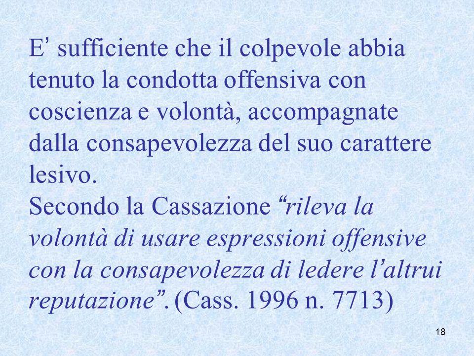 E sufficiente che il colpevole abbia tenuto la condotta offensiva con coscienza e volontà, accompagnate dalla consapevolezza del suo carattere lesivo.