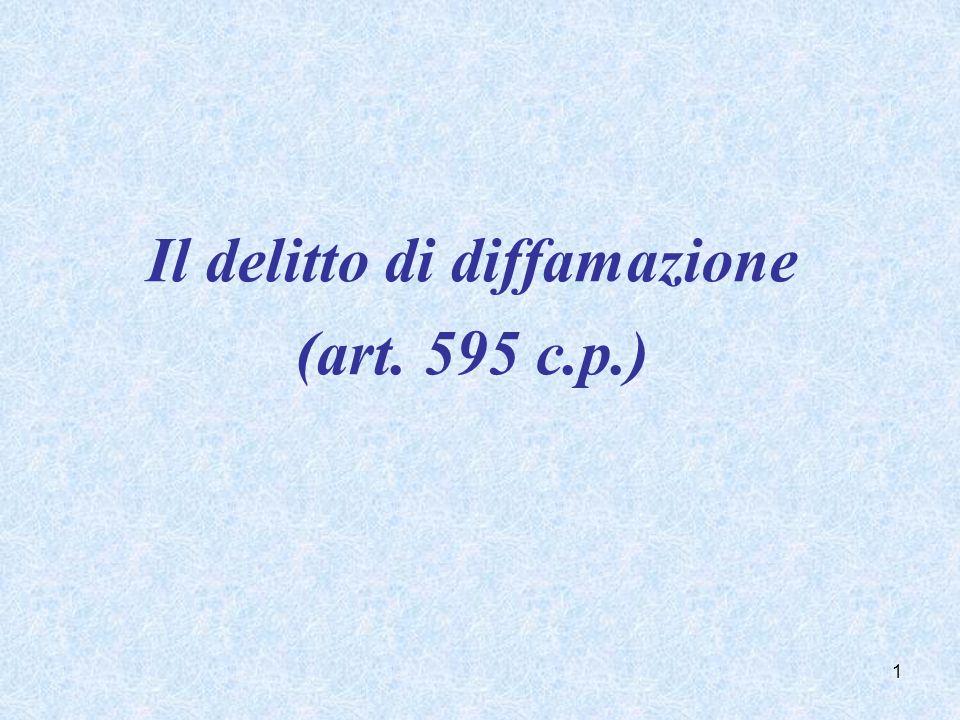 Il delitto di diffamazione (art. 595 c.p.) 1