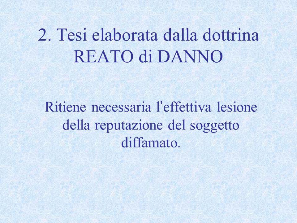 2. Tesi elaborata dalla dottrina REATO di DANNO Ritiene necessaria leffettiva lesione della reputazione del soggetto diffamato.