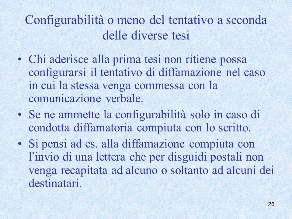 Configurabilità o meno del tentativo a seconda delle diverse tesi Chi aderisce alla prima tesi non ritiene possa configurarsi il tentativo di diffamaz