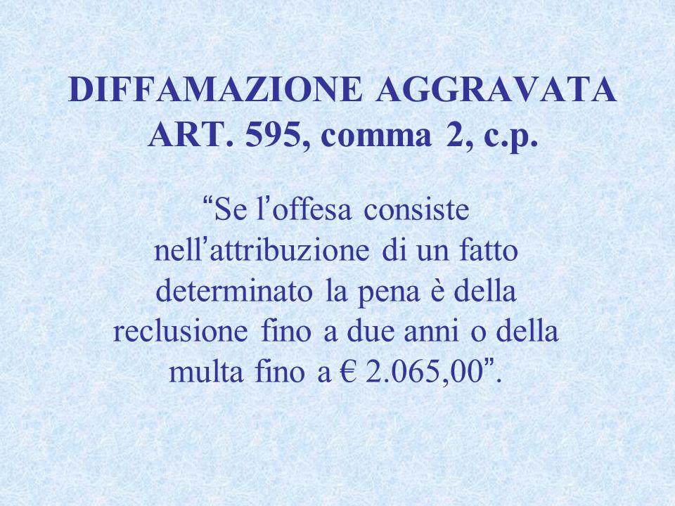 DIFFAMAZIONE AGGRAVATA ART. 595, comma 2, c.p. Se loffesa consiste nellattribuzione di un fatto determinato la pena è della reclusione fino a due anni