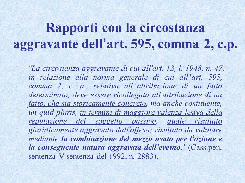 Rapporti con la circostanza aggravante dellart. 595, comma 2, c.p. La circostanza aggravante di cui allart. 13, l. 1948, n. 47, in relazione alla norm