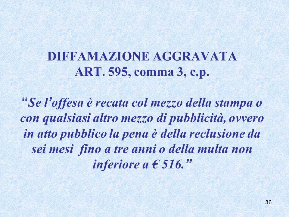DIFFAMAZIONE AGGRAVATA ART. 595, comma 3, c.p.Se loffesa è recata col mezzo della stampa o con qualsiasi altro mezzo di pubblicità, ovvero in atto pub
