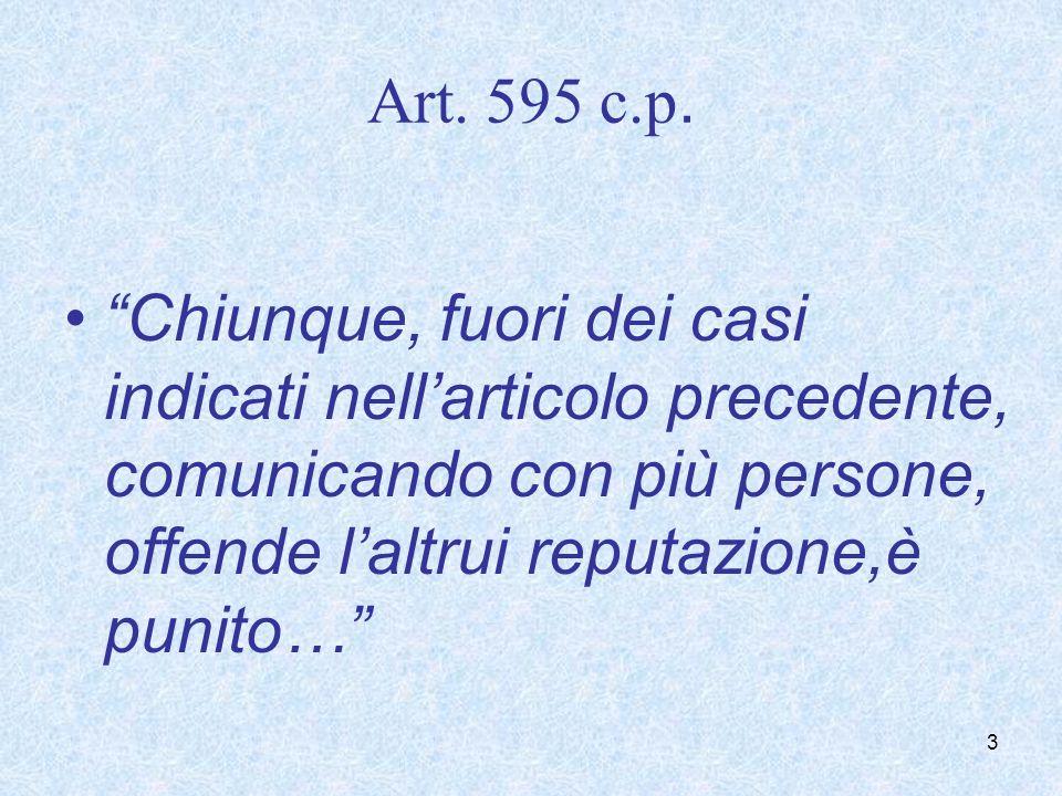Art. 595 c.p. Chiunque, fuori dei casi indicati nellarticolo precedente, comunicando con più persone, offende laltrui reputazione,è punito… 3