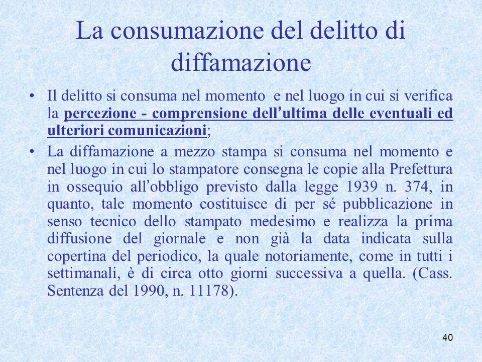 La consumazione del delitto di diffamazione Il delitto si consuma nel momento e nel luogo in cui si verifica la percezione - comprensione dellultima d