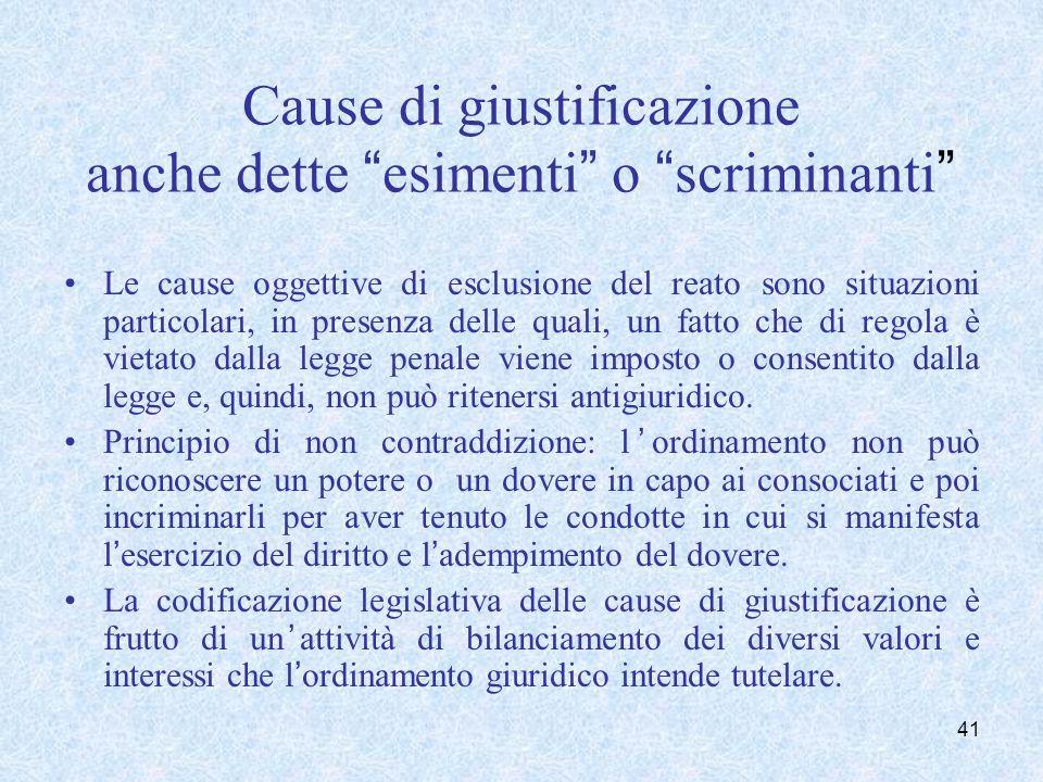 Cause di giustificazione anche dette esimenti o scriminanti Le cause oggettive di esclusione del reato sono situazioni particolari, in presenza delle