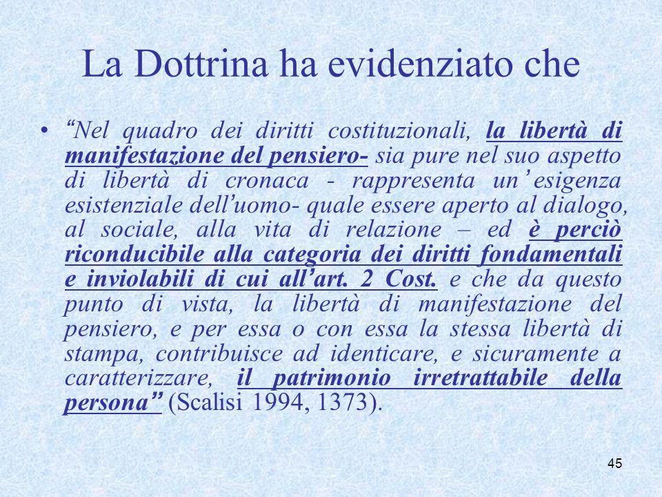 La Dottrina ha evidenziato che Nel quadro dei diritti costituzionali, la libertà di manifestazione del pensiero- sia pure nel suo aspetto di libertà d