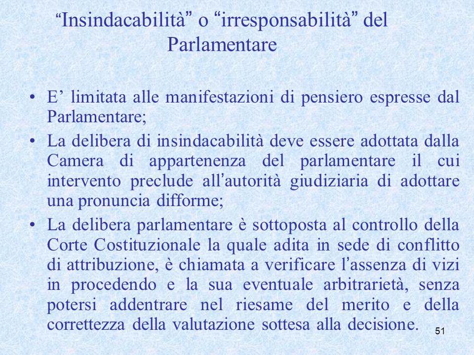 Insindacabilità o irresponsabilità del Parlamentare E limitata alle manifestazioni di pensiero espresse dal Parlamentare; La delibera di insindacabili