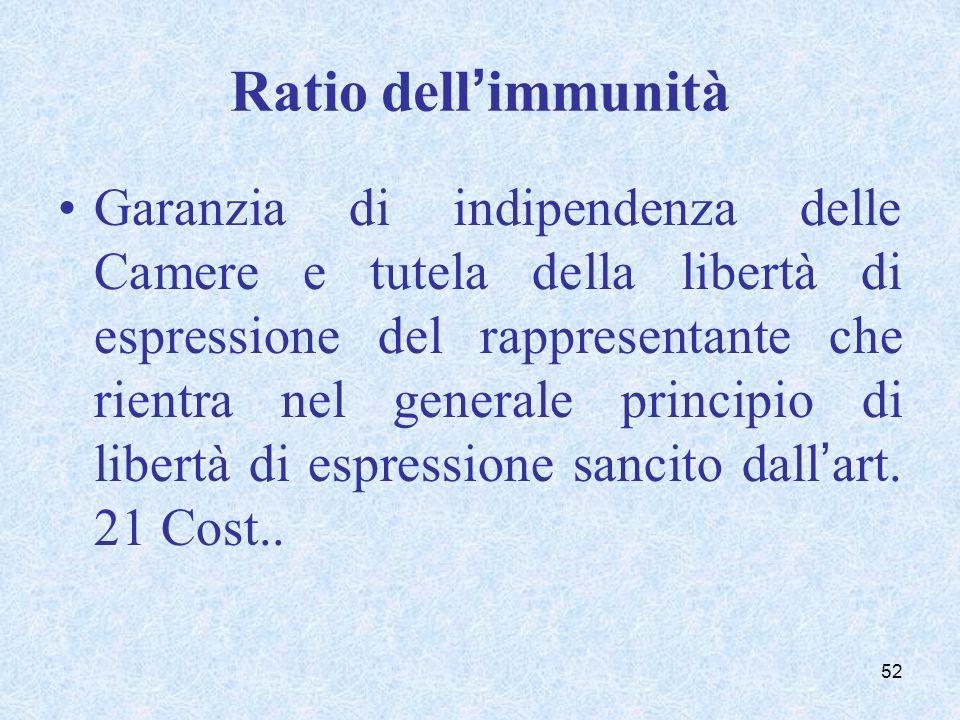 Ratio dellimmunità Garanzia di indipendenza delle Camere e tutela della libertà di espressione del rappresentante che rientra nel generale principio d