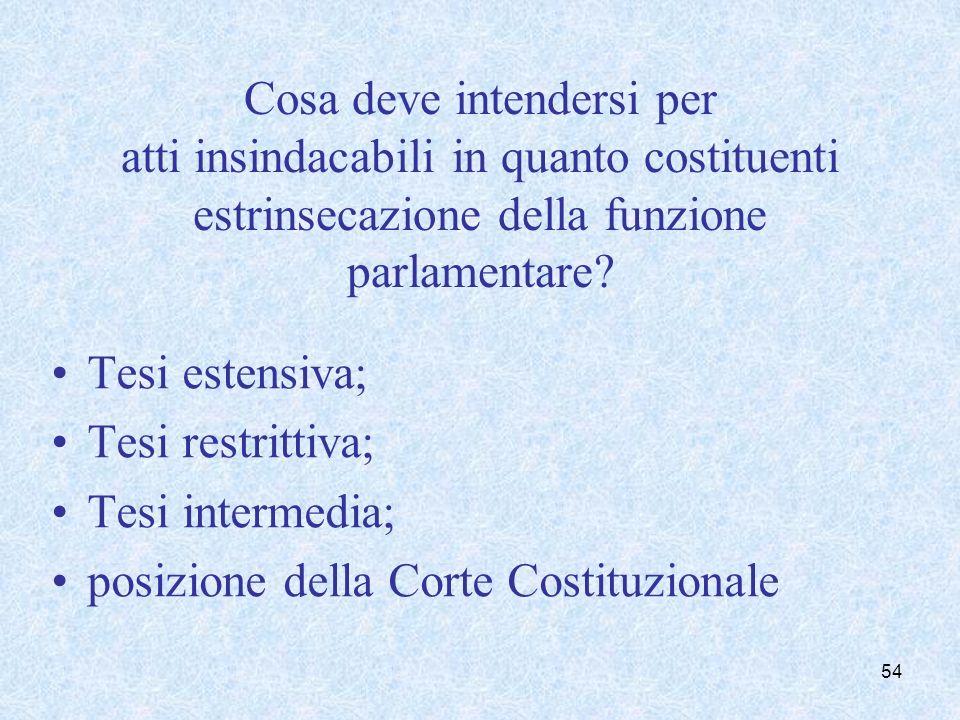 Cosa deve intendersi per atti insindacabili in quanto costituenti estrinsecazione della funzione parlamentare? Tesi estensiva; Tesi restrittiva; Tesi