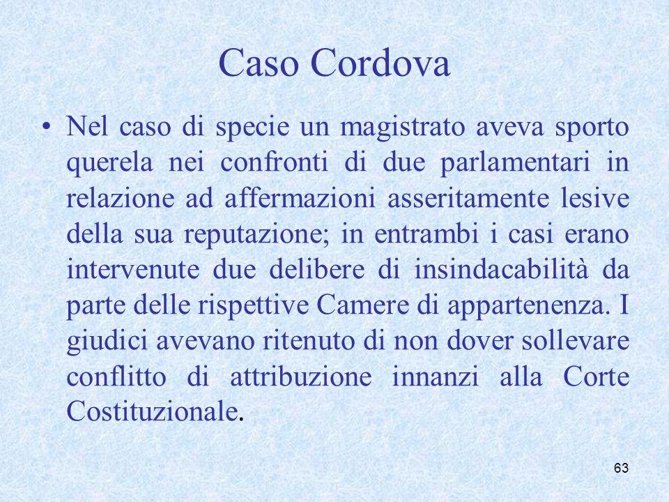 Caso Cordova Nel caso di specie un magistrato aveva sporto querela nei confronti di due parlamentari in relazione ad affermazioni asseritamente lesive