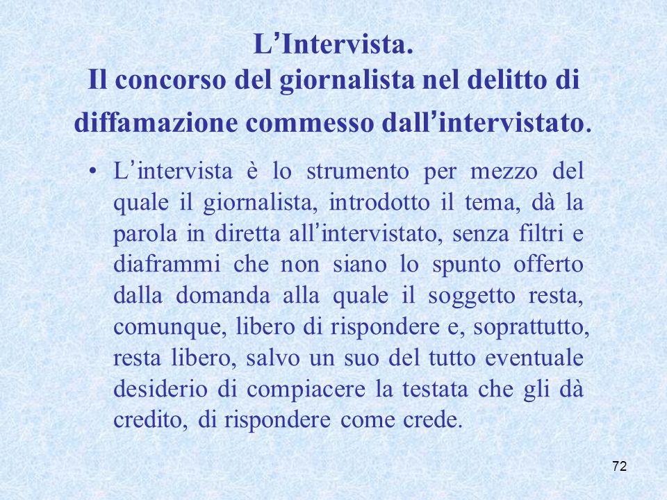LIntervista. Il concorso del giornalista nel delitto di diffamazione commesso dallintervistato. Lintervista è lo strumento per mezzo del quale il gior
