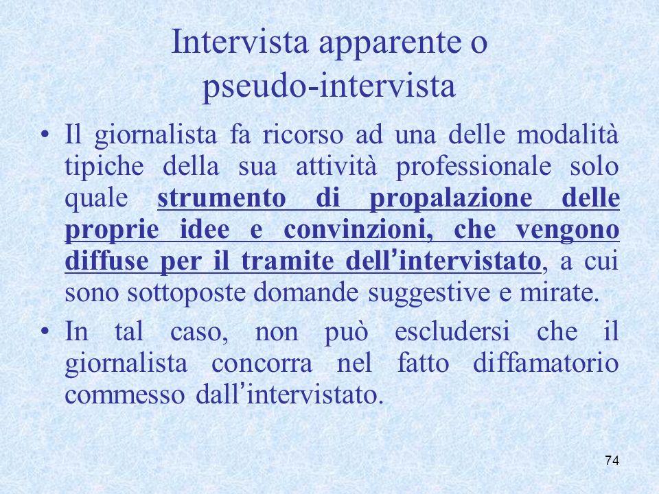 Intervista apparente o pseudo-intervista Il giornalista fa ricorso ad una delle modalità tipiche della sua attività professionale solo quale strumento