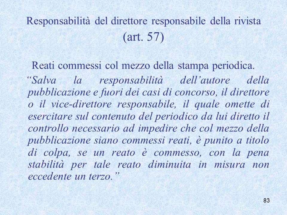 Responsabilità del direttore responsabile della rivista (art. 57) Reati commessi col mezzo della stampa periodica. Salva la responsabilità dellautore