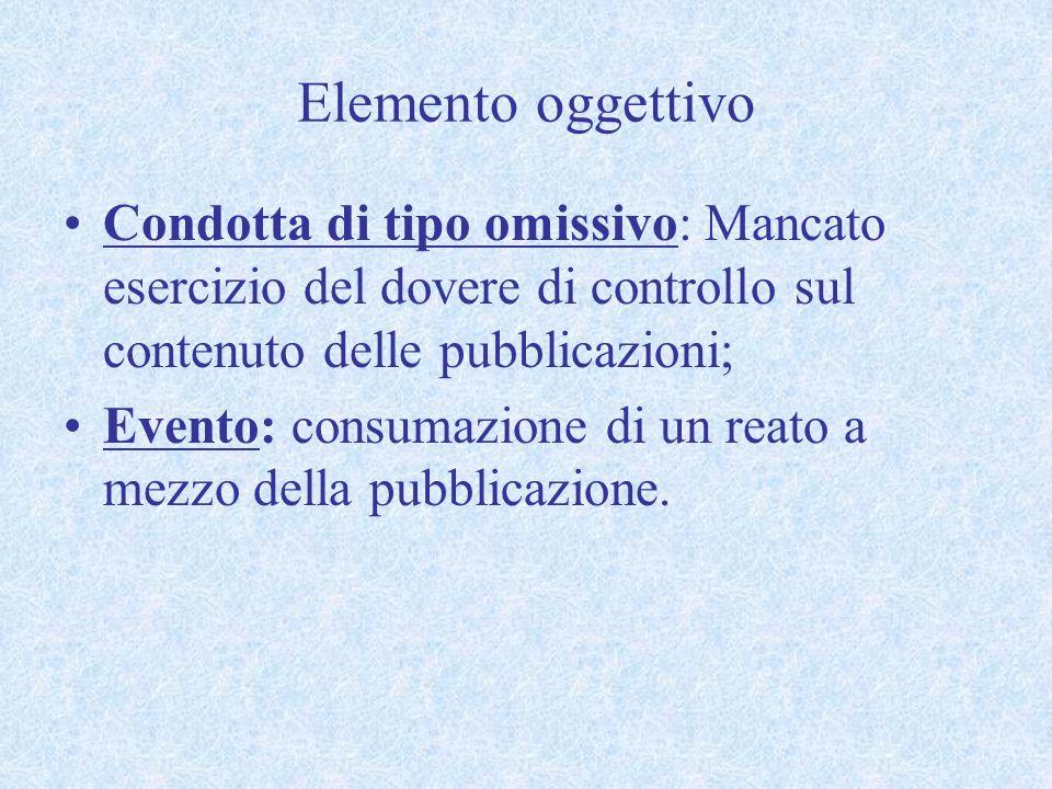 Elemento oggettivo Condotta di tipo omissivo: Mancato esercizio del dovere di controllo sul contenuto delle pubblicazioni; Evento: consumazione di un