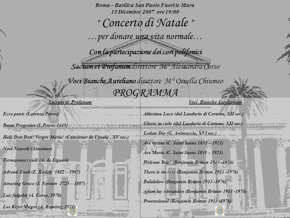 Roma – Basilica San Paolo Fuori le Mura 15 Dicembre 2007 ore 19:00 Concerto di Natale …per donare una vita normale… Con la partecipazione dei cori pol