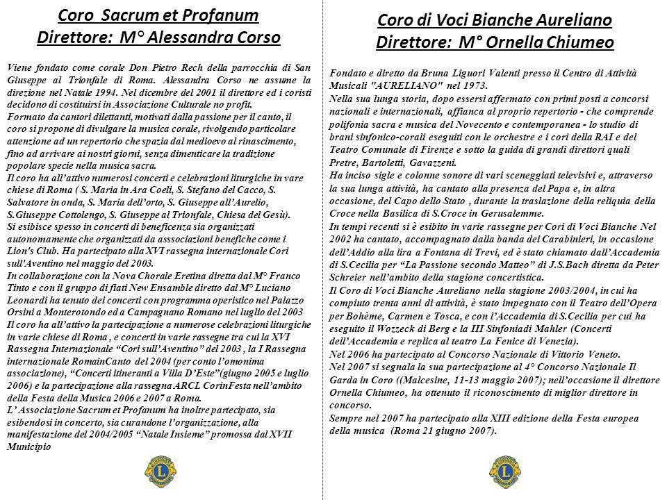 Coro di Voci Bianche Aureliano Direttore: M° Ornella Chiumeo Fondato e diretto da Bruna Liguori Valenti presso il Centro di Attività Musicali