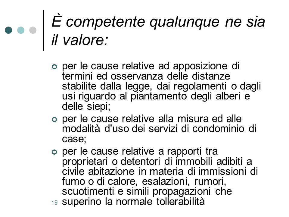 19 È competente qualunque ne sia il valore: per le cause relative ad apposizione di termini ed osservanza delle distanze stabilite dalla legge, dai re