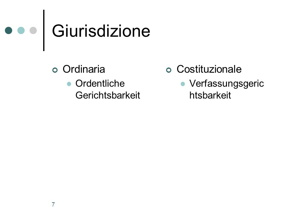 7 Giurisdizione Ordinaria Ordentliche Gerichtsbarkeit Costituzionale Verfassungsgeric htsbarkeit