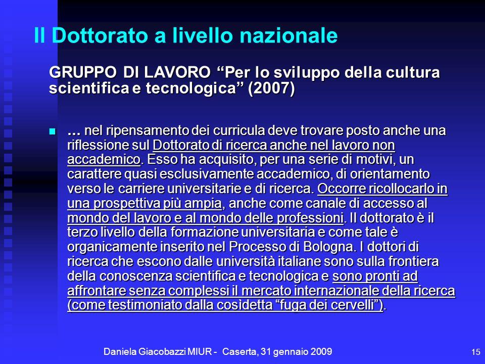 Daniela Giacobazzi MIUR - Caserta, 31 gennaio 2009 15 Il Dottorato a livello nazionale … nel ripensamento dei curricula deve trovare posto anche una riflessione sul Dottorato di ricerca anche nel lavoro non accademico.