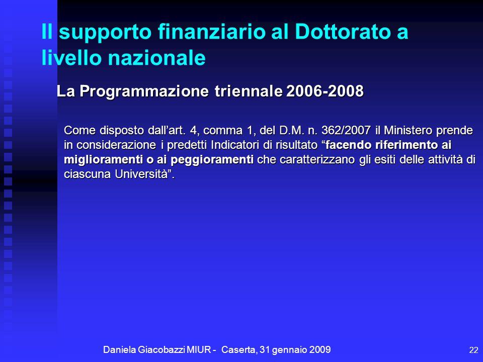 Daniela Giacobazzi MIUR - Caserta, 31 gennaio 2009 22 Il supporto finanziario al Dottorato a livello nazionale La Programmazione triennale 2006-2008 Come disposto dallart.