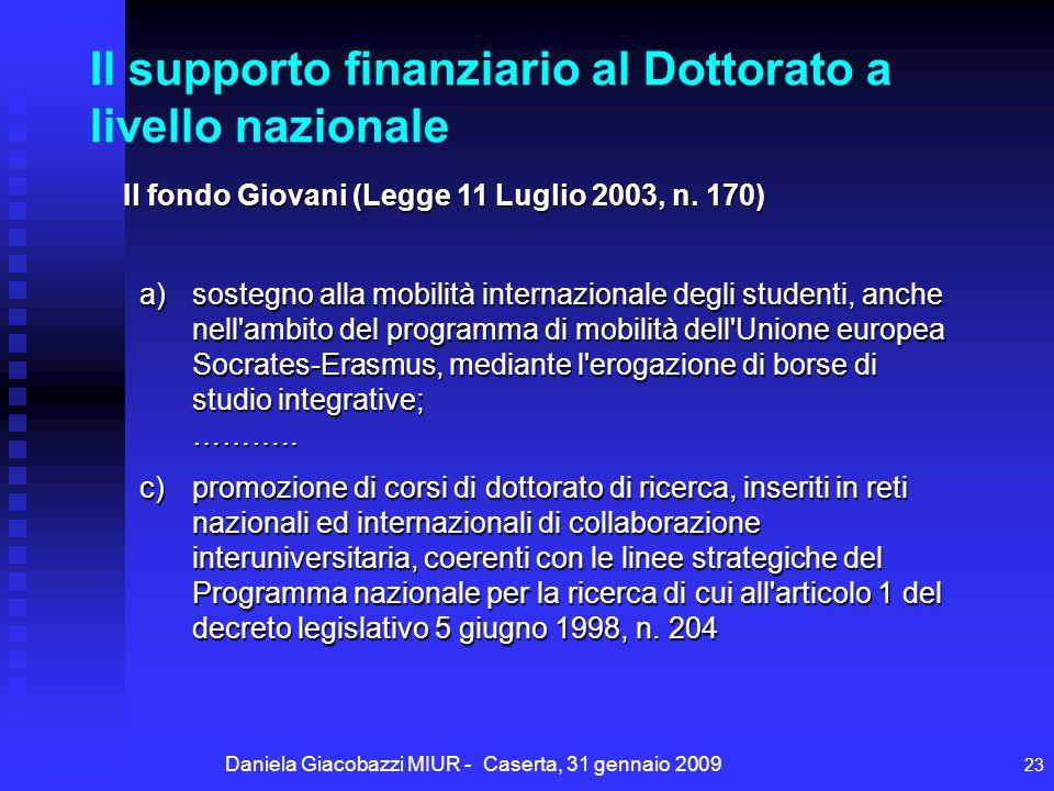 Daniela Giacobazzi MIUR - Caserta, 31 gennaio 2009 23 Il supporto finanziario al Dottorato a livello nazionale Il fondo Giovani (Legge 11 Luglio 2003, n.