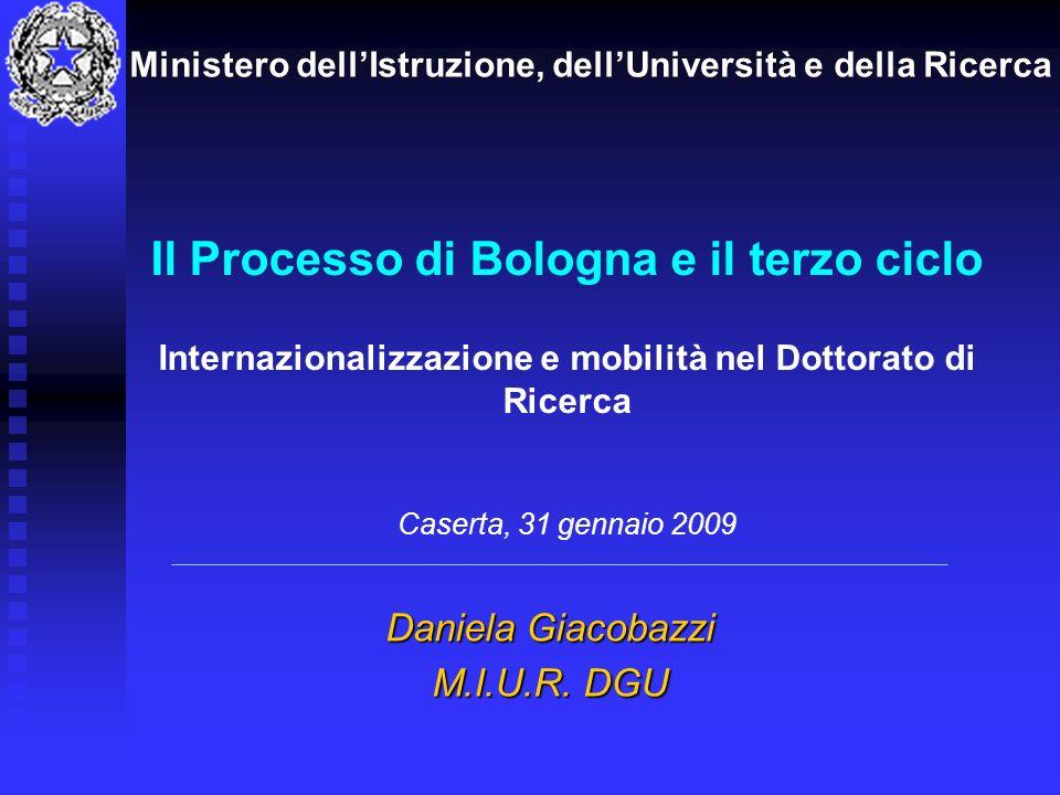 Il Processo di Bologna e il terzo ciclo Internazionalizzazione e mobilità nel Dottorato di Ricerca Caserta, 31 gennaio 2009 Daniela Giacobazzi M.I.U.R.