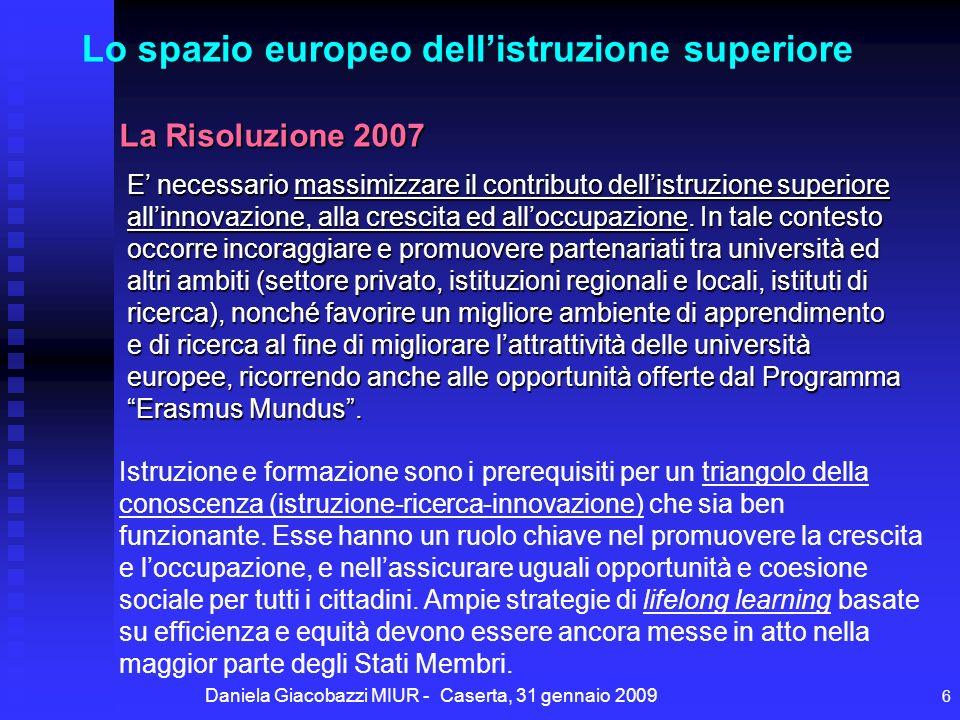 Daniela Giacobazzi MIUR - Caserta, 31 gennaio 2009 6 E necessario massimizzare il contributo dellistruzione superiore allinnovazione, alla crescita ed alloccupazione.