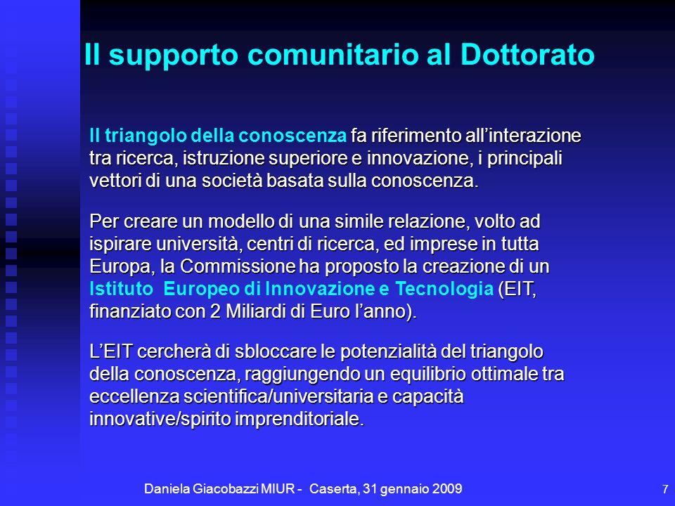 Daniela Giacobazzi MIUR - Caserta, 31 gennaio 2009 7 fa riferimento allinterazione tra ricerca, istruzione superiore e innovazione, i principali vettori di una società basata sulla conoscenza.