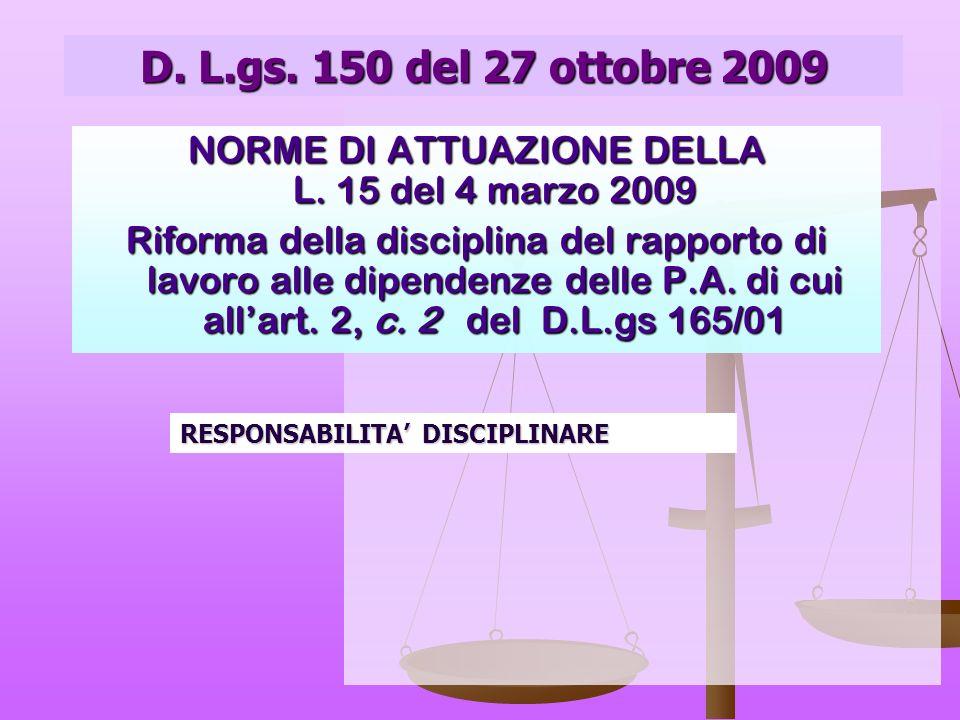 D.L.gs. 297/94 PERSONALE DOCENTE CAPO IV - Disciplina Sezione I - Sanzioni disciplinari Art.