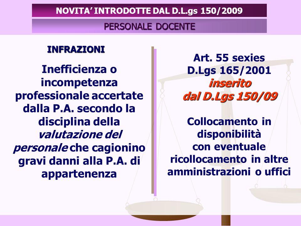 INFRAZIONI PERSONALE DOCENTE NOVITA INTRODOTTE DAL D.L.gs 150/2009 Inefficienza o incompetenza professionale accertate dalla P.A.