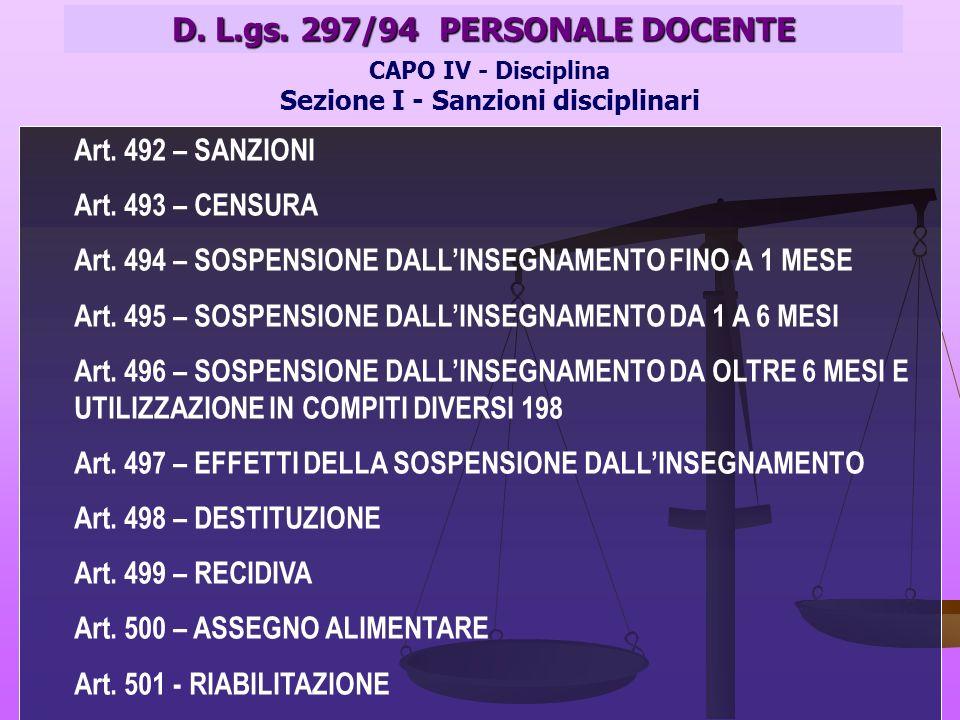 D. L.gs. 297/94 PERSONALE DOCENTE CAPO IV - Disciplina Sezione I - Sanzioni disciplinari Art.