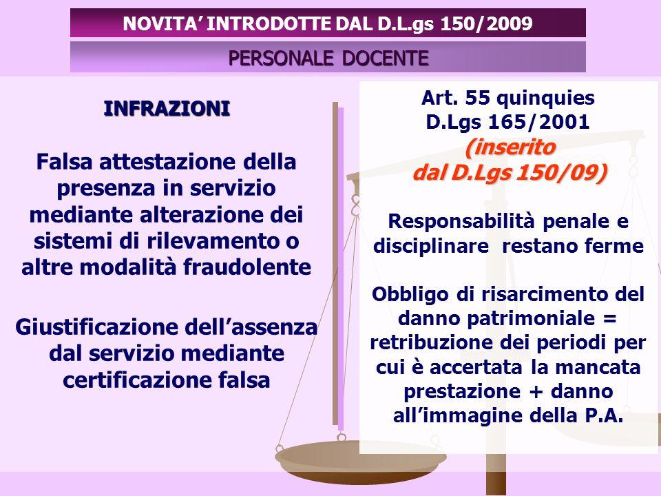 INFRAZIONI PERSONALE DOCENTE NOVITA INTRODOTTE DAL D.L.gs 150/2009 Casi in cui la P.A.