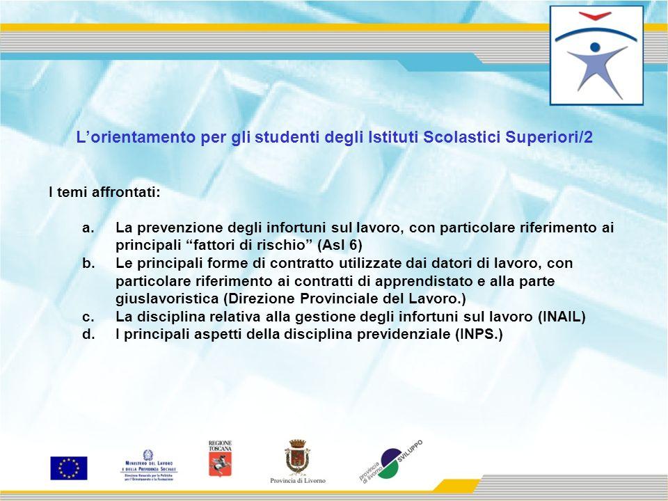 Lorientamento per gli studenti degli Istituti Scolastici Superiori/2 I temi affrontati: a.