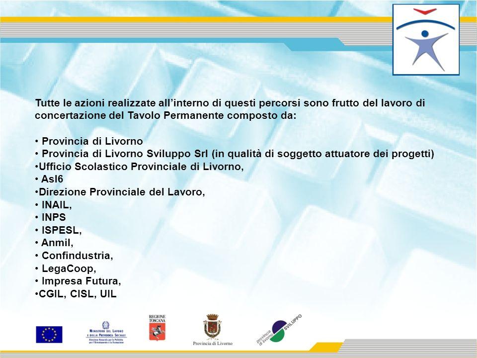 Tutte le azioni realizzate allinterno di questi percorsi sono frutto del lavoro di concertazione del Tavolo Permanente composto da: Provincia di Livorno Provincia di Livorno Sviluppo Srl (in qualità di soggetto attuatore dei progetti) Ufficio Scolastico Provinciale di Livorno, Asl6 Direzione Provinciale del Lavoro, INAIL, INPS ISPESL, Anmil, Confindustria, LegaCoop, Impresa Futura, CGIL, CISL, UIL