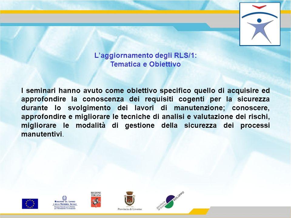 Laggiornamento degli RLS/2: Sono stati realizzate 5 edizioni del seminario per complessive 40 ore, in tre aree: Livorno, Cecina, Piombino nel mese di Aprile 2010.