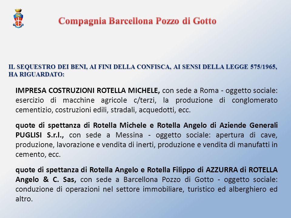 IMPRESA COSTRUZIONI ROTELLA MICHELE, con sede a Roma - oggetto sociale: esercizio di macchine agricole c/terzi, la produzione di conglomerato cementiz