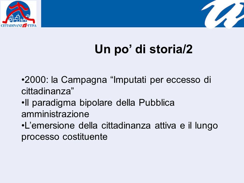Un po di storia/2 2000: la Campagna Imputati per eccesso di cittadinanza Il paradigma bipolare della Pubblica amministrazione Lemersione della cittadinanza attiva e il lungo processo costituente