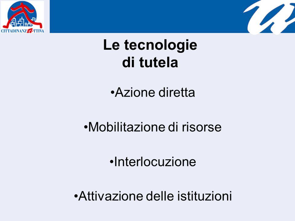 Le tecnologie di tutela Azione diretta Mobilitazione di risorse Interlocuzione Attivazione delle istituzioni