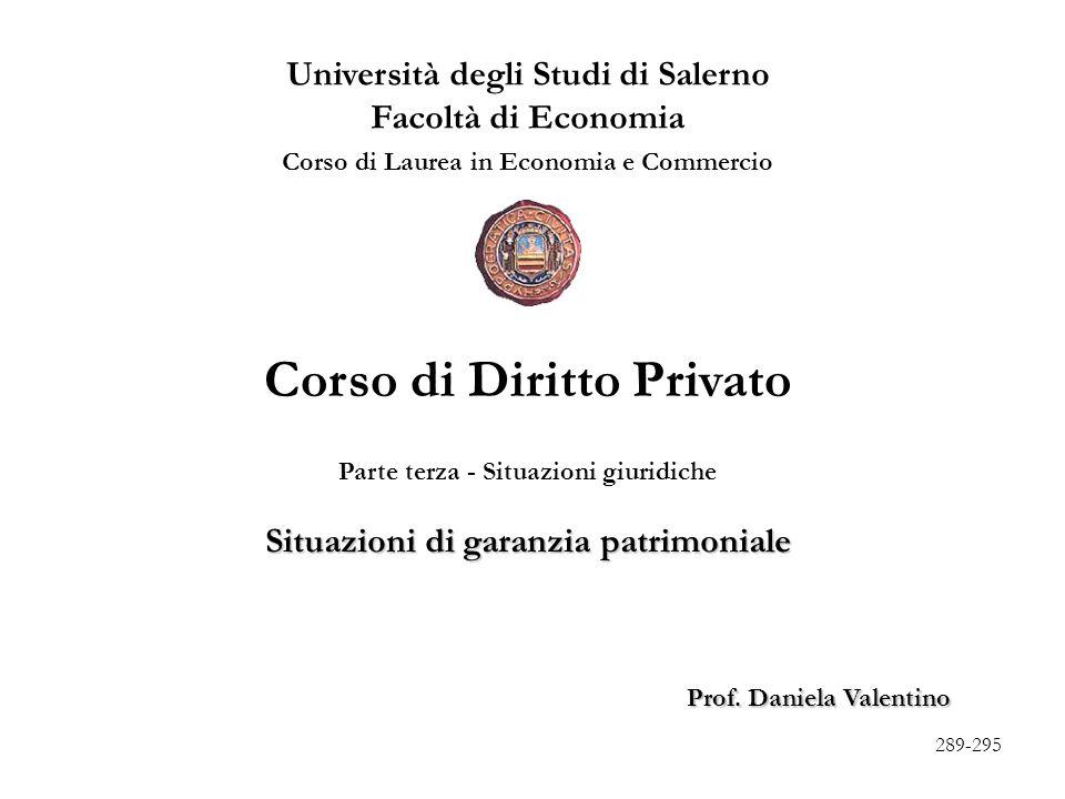 I - Situazioni di garanzia patrimoniali (artt.