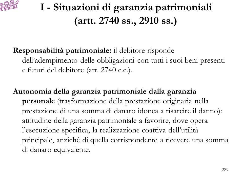 I - Situazioni di garanzia patrimoniali (artt. 2740 ss., 2910 ss.) Responsabilità patrimoniale: il debitore risponde delladempimento delle obbligazion