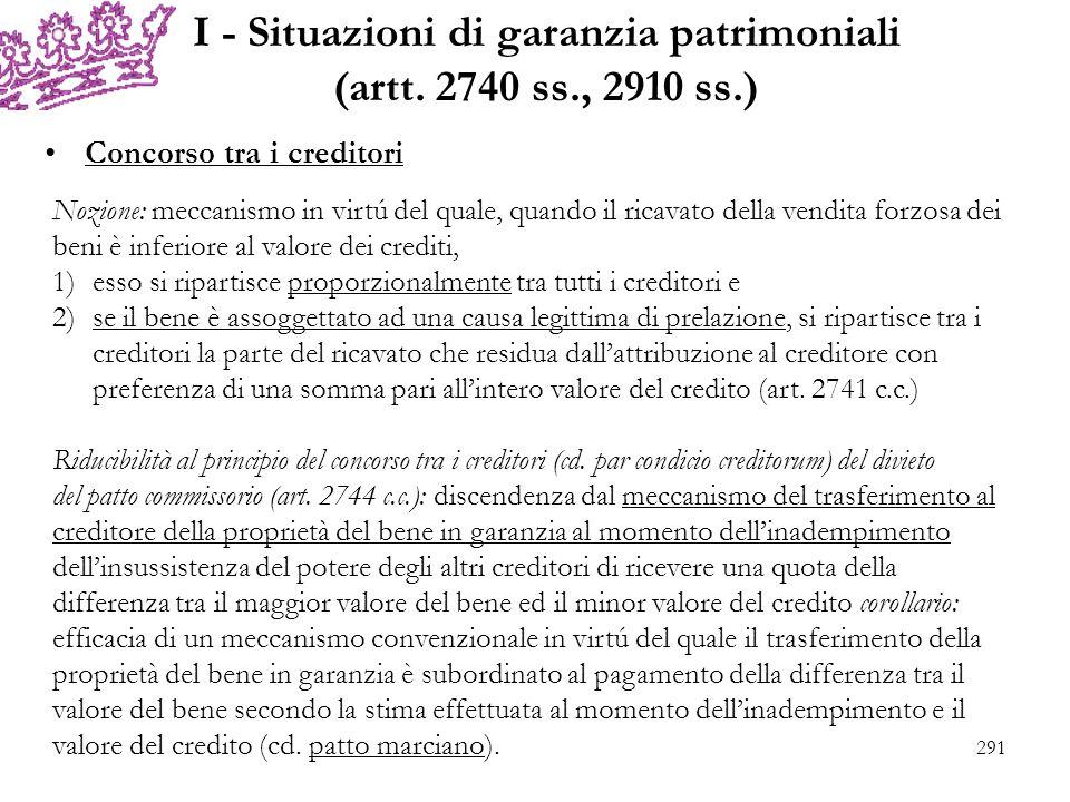I - Situazioni di garanzia patrimoniali (artt. 2740 ss., 2910 ss.) Concorso tra i creditori Nozione: meccanismo in virtú del quale, quando il ricavato