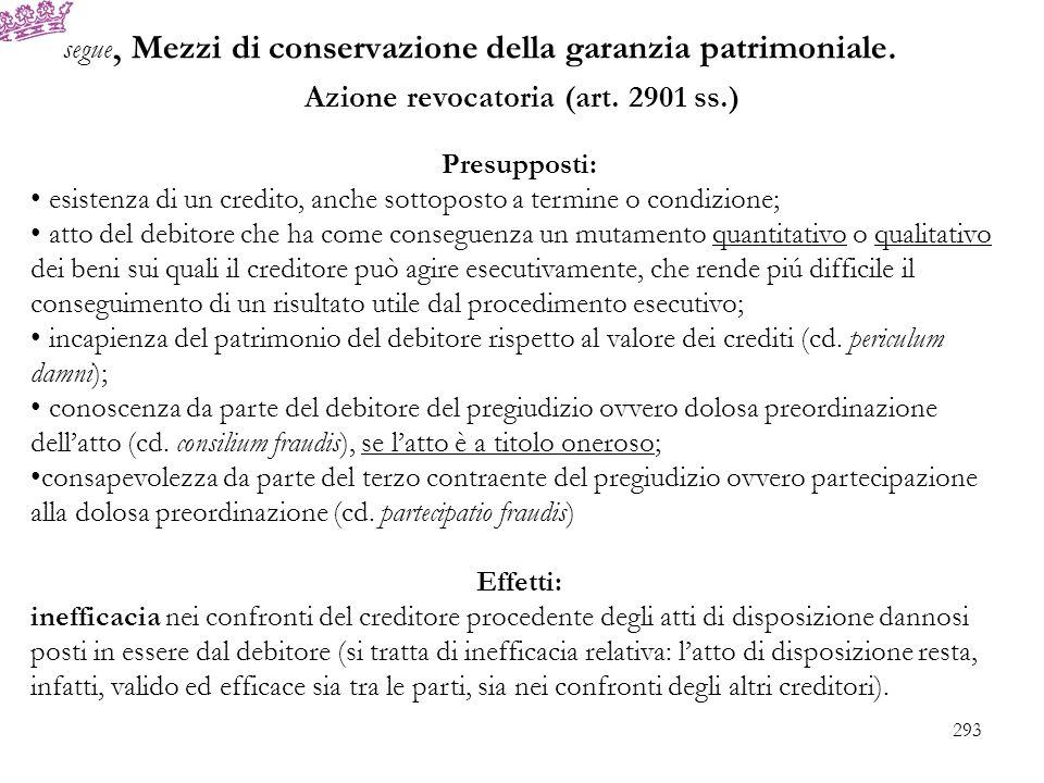 segue, Mezzi di conservazione della garanzia patrimoniale. Azione revocatoria (art. 2901 ss.) Presupposti: esistenza di un credito, anche sottoposto a