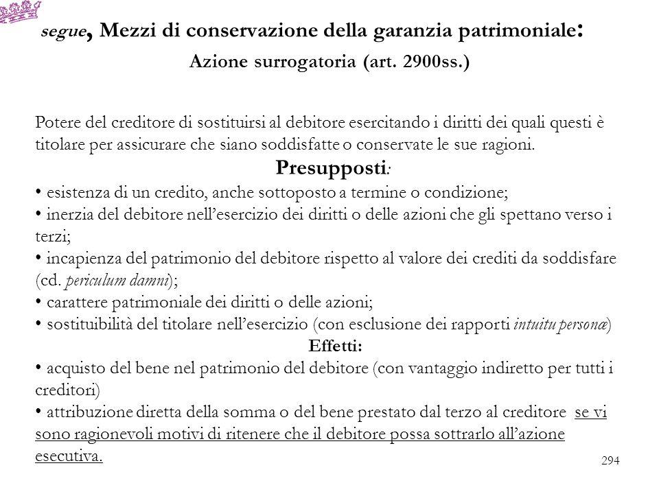 segue, Mezzi di conservazione della garanzia patrimoniale : Azione surrogatoria (art. 2900ss.) Potere del creditore di sostituirsi al debitore esercit